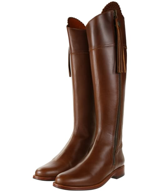 Women's Fairfax & Favor Regina Flat Leather Boots - Tan Leather