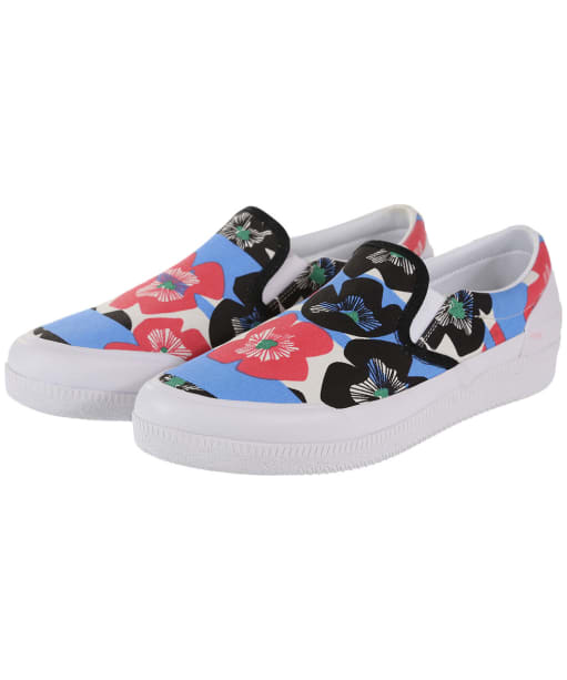 Women's Hunter Original Floral Stripe Plimsoll - Floral Stripe / Peony