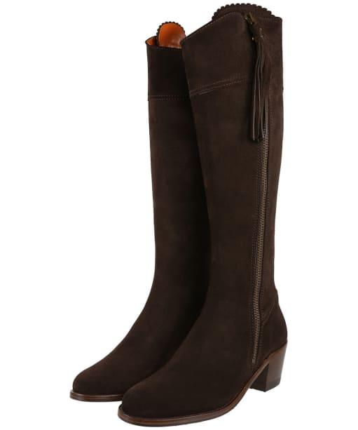 Women's Fairfax & Favor Heeled Regina Boots - Chocolate Suede