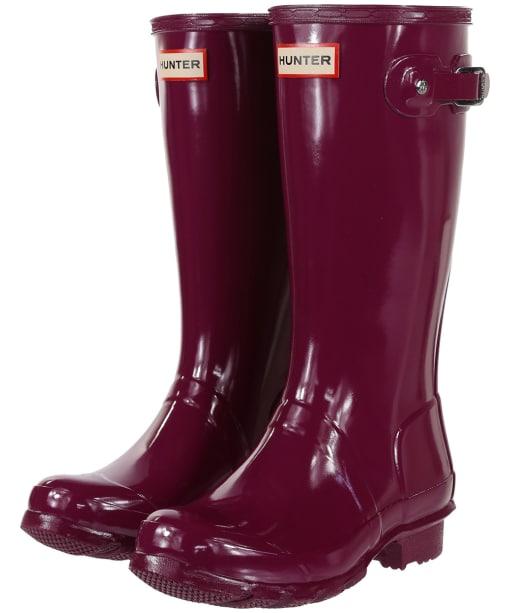 Hunter Original Kids Gloss Wellington Boots, 12-4 - Violet