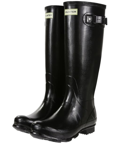 Women's Hunter Field Norris Gloss Wellingtons - Black