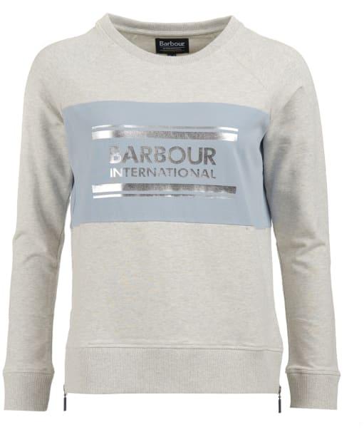 Women's Barbour International Sprinter Overlayer Sweatshirt - Pale Grey Marl