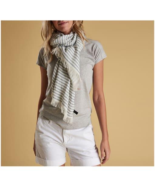 Women's Barbour Shirt Stripe Reversible Wrap - Blue / White Stripe