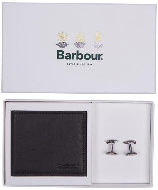 Men's Barbour Leather Wallet and Cufflinks Giftset - Dark Brown