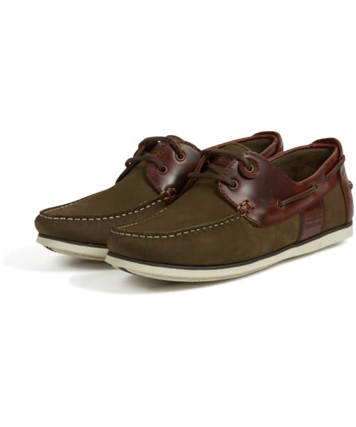 Men's Barbour Capstan Boat Shoes - Olive / Mahogany
