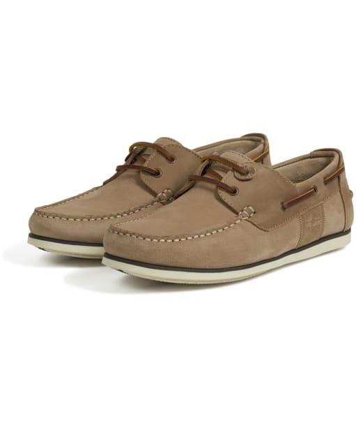 Men's Barbour Capstan Boat Shoes - Stone / Tan