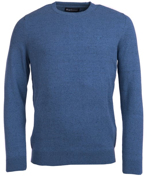 Men's Barbour Linen Mix Crew Sweater - Mid Blue