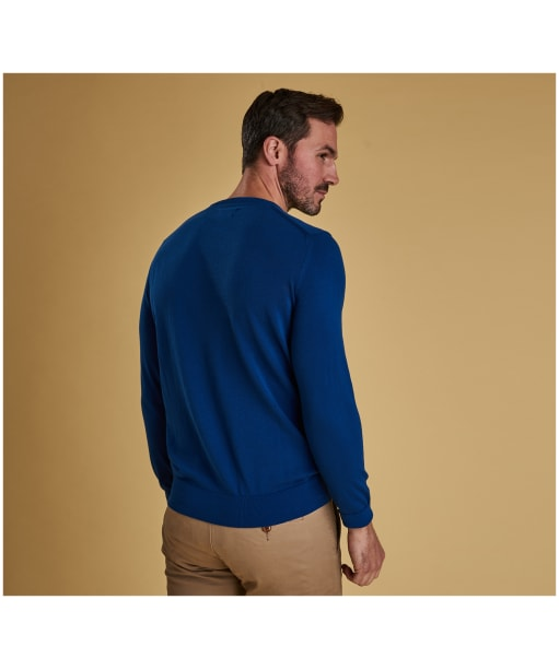 Men's Barbour Light Cotton Crew Neck Sweater - Bright Blue