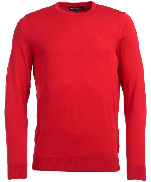 Men's Barbour Light Cotton Crew Neck Sweater - Red