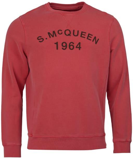 Men's Barbour Steve McQueen Vintage Crew Sweatshirt - Washed Red
