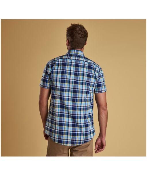 Men's Barbour Madras 3 S/S Tailored Shirt - Sky Blue Check