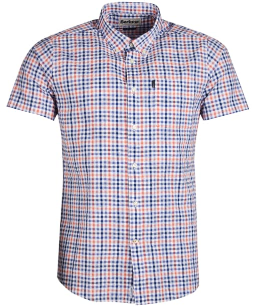 Men's Barbour Seersucker 2 S/S Tailored Shirt - Light Orange