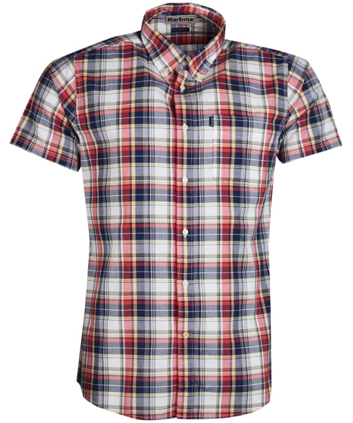 Men's Barbour Madras 1 Short Sleeved Tailored Shirt - Pink