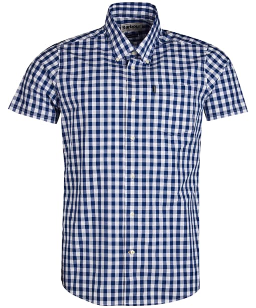 Men's Barbour Gingham 3 Short Sleeved Tailored Shirt - Navy
