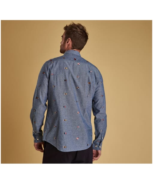 Men's Barbour Chambray Flag Shirt - Indigo