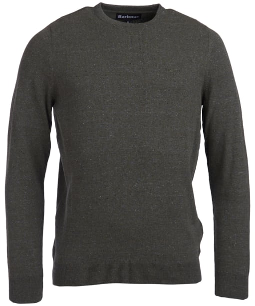 Men's Barbour Linen Mix Crew Sweater - Olive