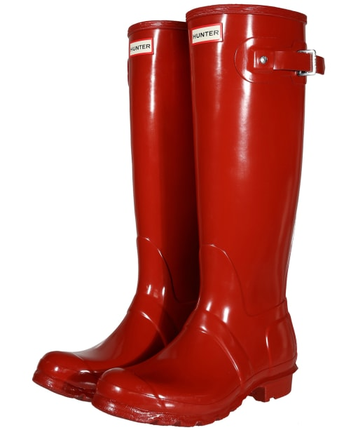 Women's Hunter Original Tall Gloss Wellington Boots - Military Red