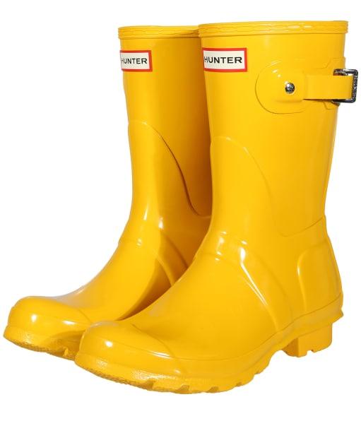 Women's Hunter Original Short Gloss Wellington Boots - Yellow