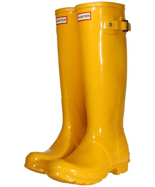 Women's Hunter Original Tall Gloss Wellington Boots - Yellow