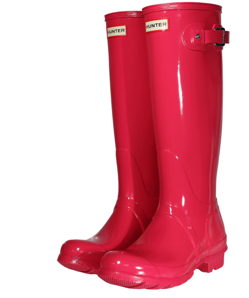Women's Hunter Original Tall Gloss Wellington Boots - Bright Pink