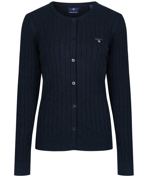 Women's GANT Cable Crew Cardigan - Evening Blue