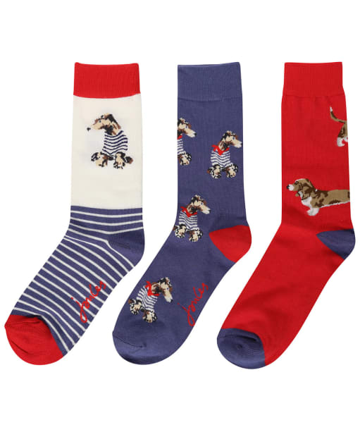 Women's Joules Brilliant Bamboo 3-Pack Socks - Blue Dogs