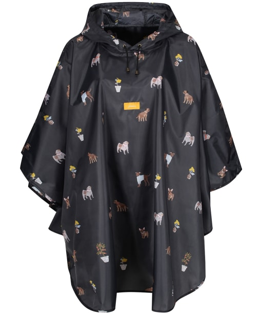Women's Joules Showerproof Poncho - Black Dogs