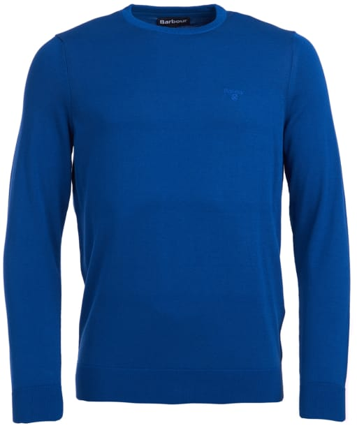 Men's Barbour Light Cotton Crew Neck Sweater - Bright Blue