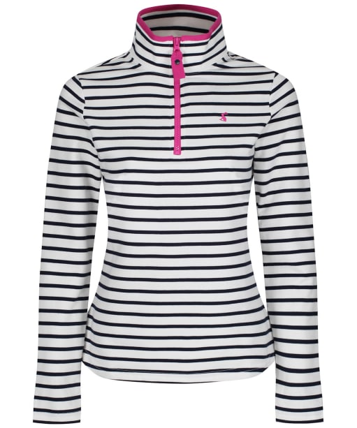 Women's Joules Fairdale Zip Neck Sweatshirt - Cream / Navy Stripe