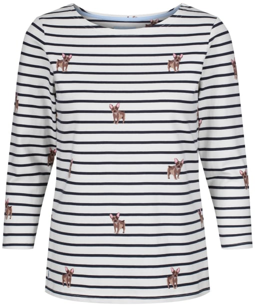 Women's Joules Harbour Printed Top - Creme Blue Dogs