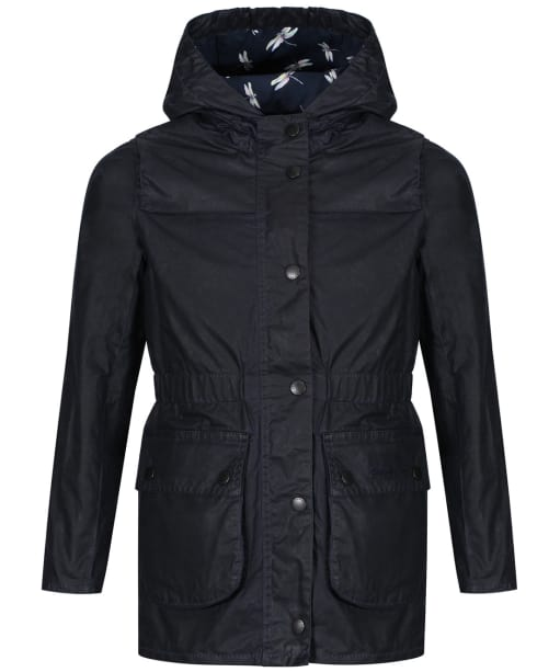 Girl's Barbour Hamlet Waxed Jacket, 2-9yrs - Navy