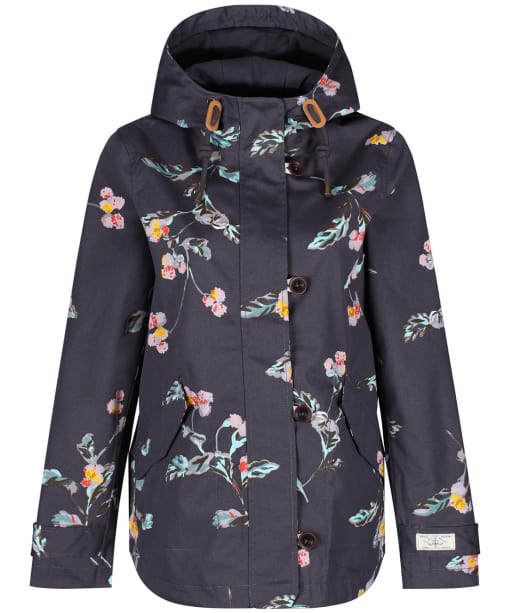 Women's Joules Coast Printed Waterproof Jacket - Soft Grey Floral