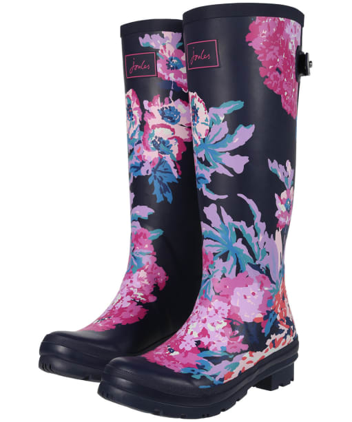 Women's Joules Printed Wellington Boots - Navy All Over Floral