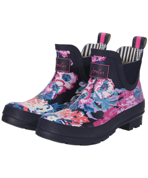 Women's Joules Wellibob Short Printed Wellies - NAVY ALLOVER FL