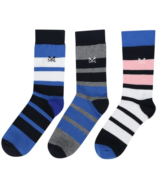 Men's Crew Clothing 3 Pack Socks - Lapis Block Stripe