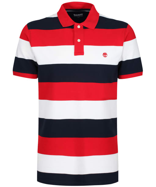 Men's Timberland Millers River Pique Wide Stripe Polo Shirt - Barbados Cherry