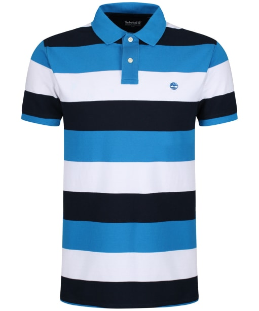 Men's Timberland Millers River Pique Wide Stripe Polo Shirt - Indigo Bunting