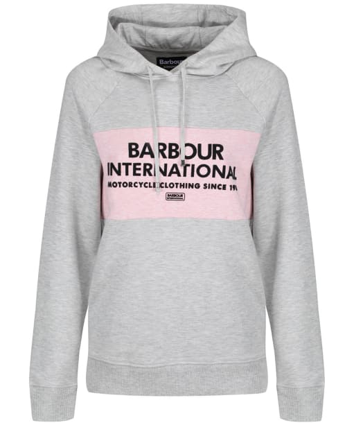 Women's Barbour International Croft Hooded Sweatshirt - Pale Grey Marl
