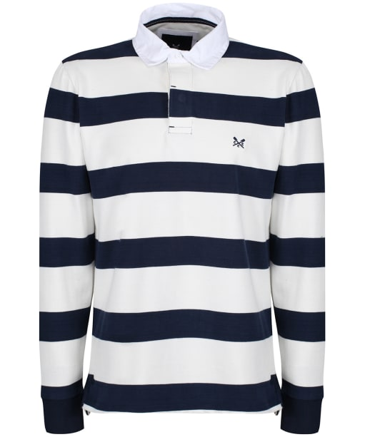 Men's Crew Clothing Long Sleeve Rugby Shirt - Navy / White