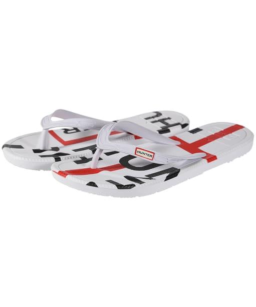 Women's Hunter Original Exploded Logo Flip Flops - Hunter White