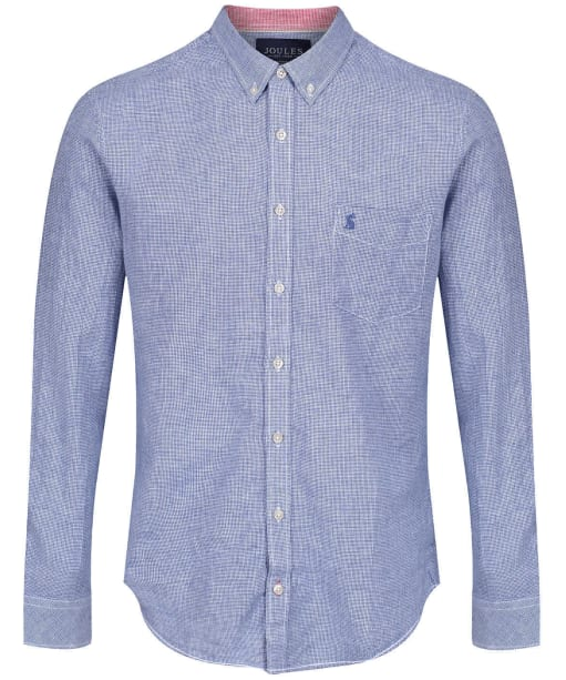 Men's Joules Linen Classic Shirt - Blue Houndstooth