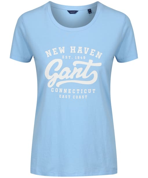 Women's GANT Summer Logo T-Shirt - Capri Blue