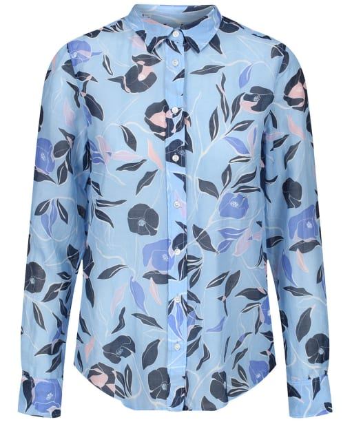 Women's GANT Floral Cotton Silk Shirt - Capri Blue