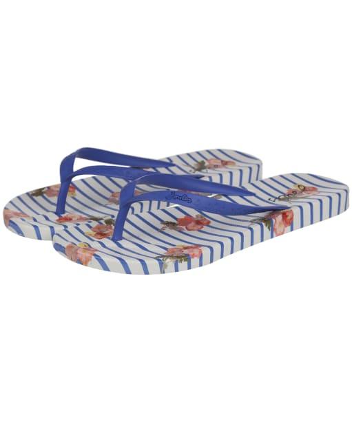 Women's Joules Flip Flops - Blue Floral Stripe