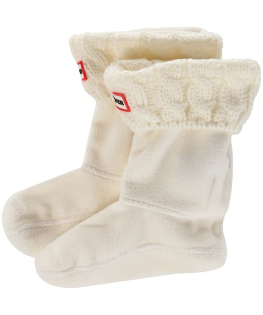 Hunter Original Kids Cable Knitted Boot Socks - Natural White