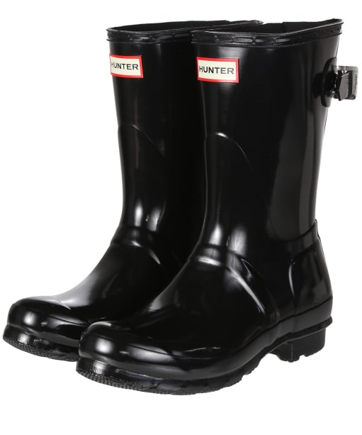 Women's Hunter Original Adjustable Short Wellington Boots - Black