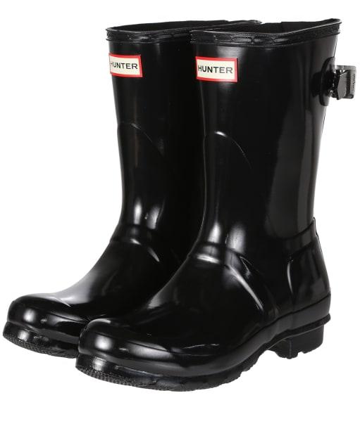 Women's Hunter Original Adjustable Short Wellington Boots - Black
