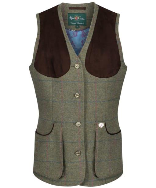 Women's Alan Paine Combrook Tweed Shooting Waistcoat - Juniper
