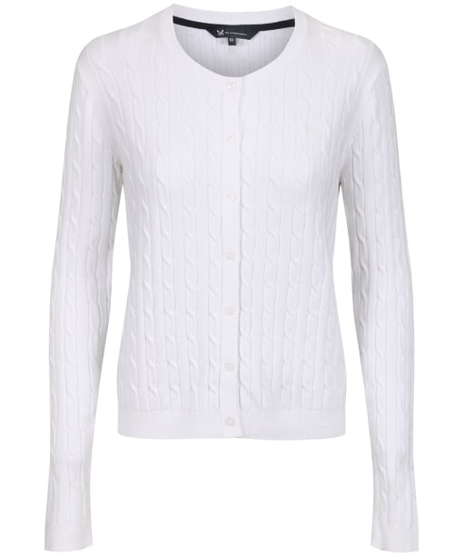 Women's Crew Clothing Cable Cardigan - Optic White