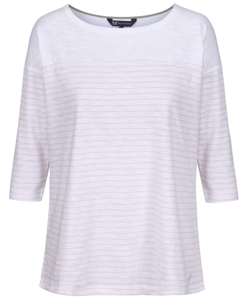 Women's Crew Clothing Drop Shoulder T-Shirt - Coral Stripe